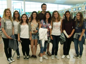 At Barcelona airport on our way to England.